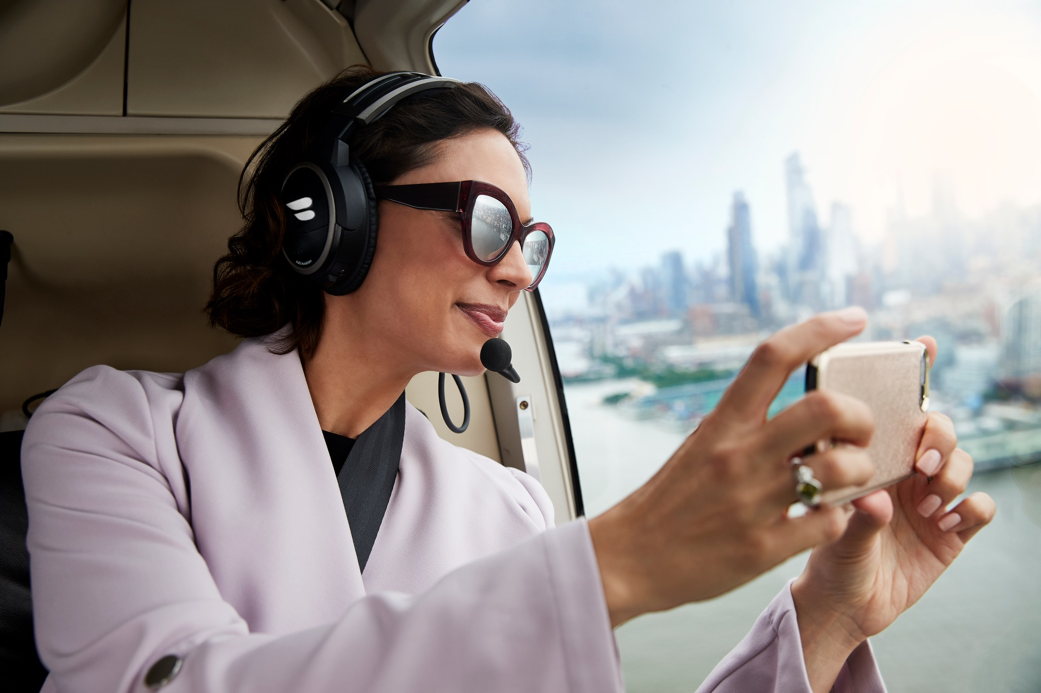Woman Flying and Taking a Picture